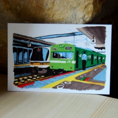 "carte postale ""trains, gare de Nara"" - 3€"