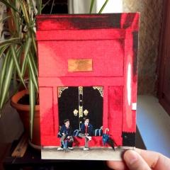 """carte postale imprimée offset """"écoliers sous le Hozomon"""" - 3€"""