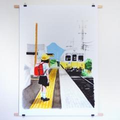 """tirage numérique grand format """"dans le train en allant à Amanohashidate"""""""