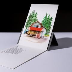 """carte sérigraphiée """"ferme à Obihiro, Hokkaido"""" - 7€"""