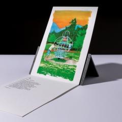 "carte sérigraphiée ""jeux, Inuyama"" - 7€"